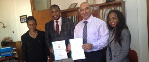 Putting pen to paper were, the Director General of NCST, Mr. Anthony Muyepa and the country director of TBF, Mr. Jose Araujo